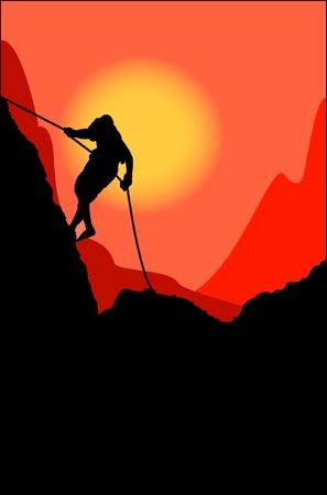 bergsteiger: Kletterer auf eine Felswand