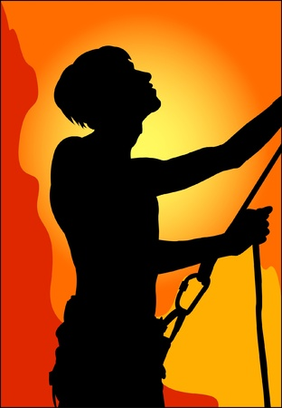 Climber on a rock wall Stock Vector - 10925254