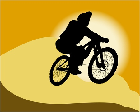 mountain biker: vector silhouette of a cyclist on the background of the desert