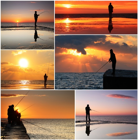 Collage of fisherman Stock Photo - 12313691