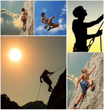 abseiling: Collage of climbers on the rock