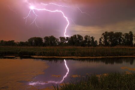 Thunderstorm on the river photo