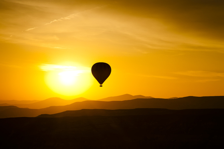Balloon in Cappadocia at dawn sky photo