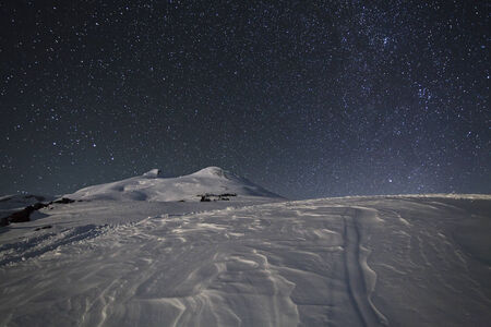 crag: Starry sky above Elbrus, Caucasus Mountains