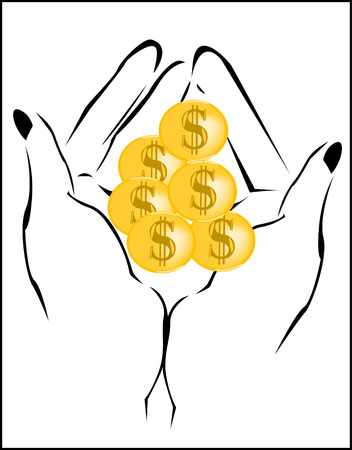 accumulate: illustration of a hand with a handful of coins