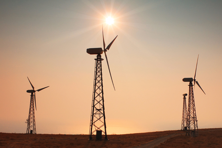 Windmills power at sunset photo