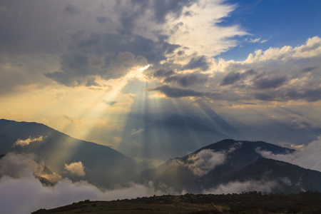 beautiful view above cloudscape and mountains  photo