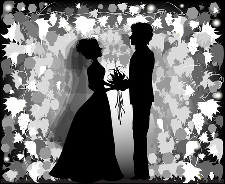 Silhouette of bride and groom Stock Vector - 29480140