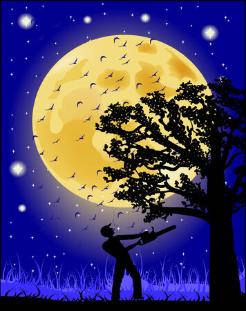 illegally: Silhouette of a man working with a saw in the night sky and the full moon  Illustration