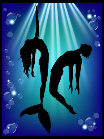 Mermaid silhouette and men in the underwater world  Vector
