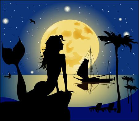 rocks water: Mermaid silhouette against the night landscape Illustration