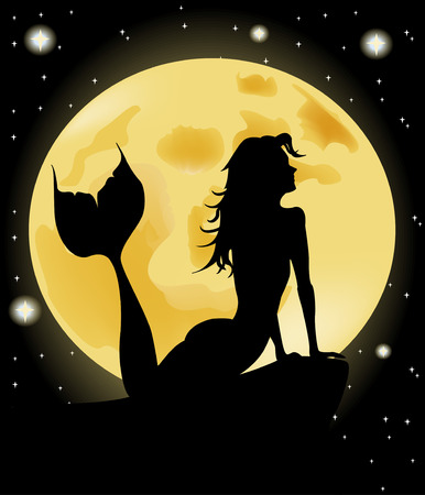 Mermaid silhouette against the full moon Vector