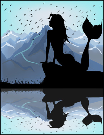 Mermaid silhouette on a background of blue mountains Vector