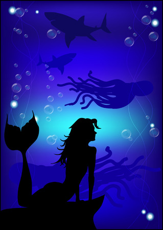 Beautiful mermaid silhouette against the background of the underwater world