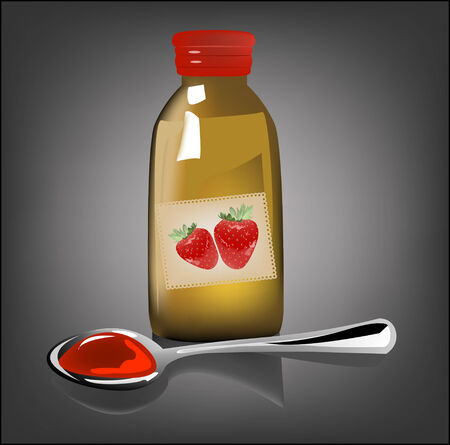 cough syrup: illustration of medical strawberry syrup  Illustration