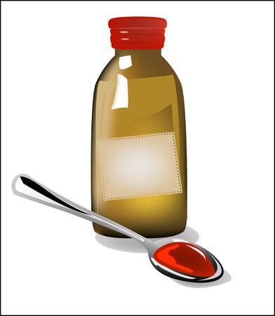 cough syrup: illustration of bottle pouring medicine syrup in spoon  Illustration