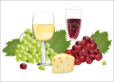 Wine and cheese, vector illustration  Vector