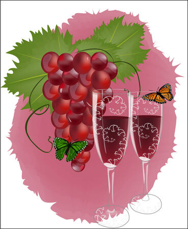 Red grapes with wine and butterflies Vector