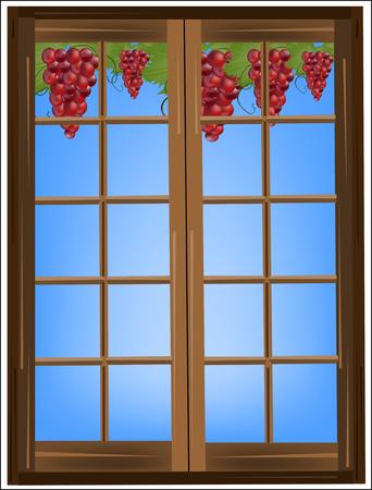 ochtend dauw: Wijnstok en druiven buiten het raam