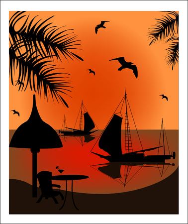 Beautiful voyage at sunset  Vector art-illustration   Vector