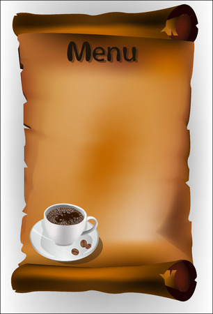Coffee menu on the parchment  Vector