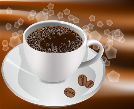 vivacity: Cup of coffee on a white background with coffee beans