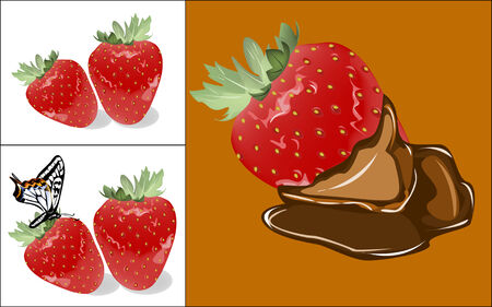 set of pictures with strawberries Vector