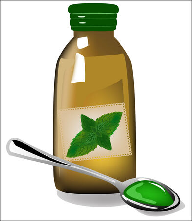 cough syrup: Therapy mint syrup in a bottle
