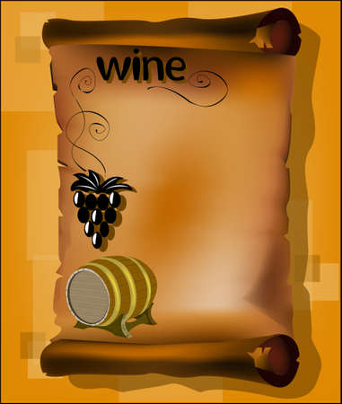Parchment with vine and wine barrel Vector