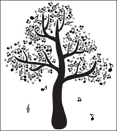 Musical tree with notes