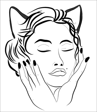 flexible sexy: Face of a beautiful woman-cat   Illustration
