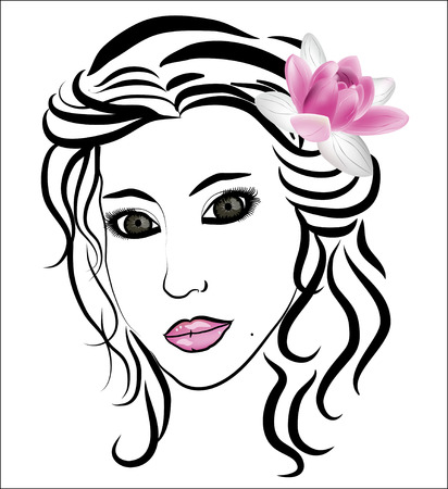 Face of a beautiful woman  Vector