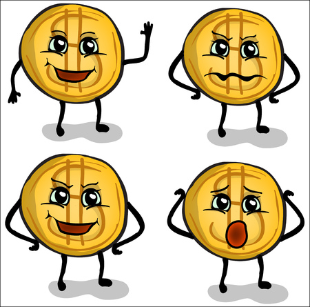 one us dollar coin: funny coin with different emotions Illustration