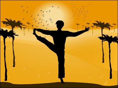 Silhouette of man in yoga pose on the background of the desert Vector