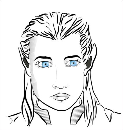 literary man: Blue-eyed beautiful elf man  Illustration