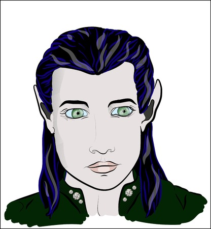 literary man: Green-eyed beautiful elf man
