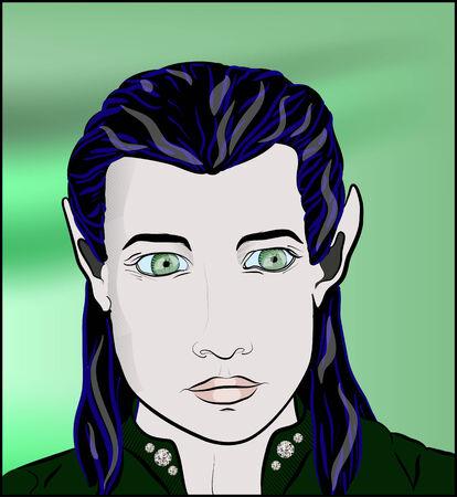 literary characters: Green-eyed beautiful elf man
