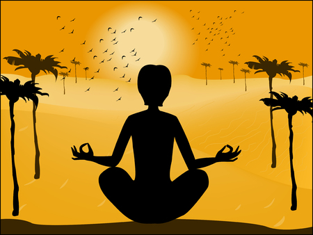 Silhouette of man in yoga pose on the background of the deser Vector