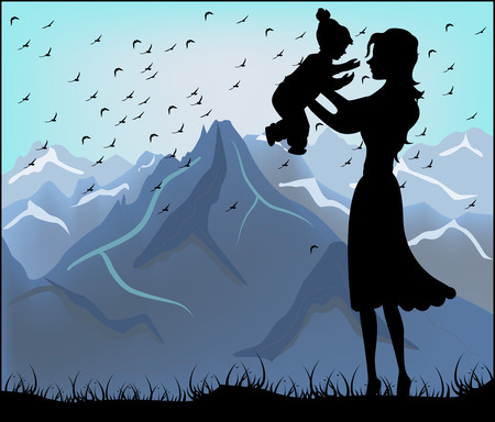 Silhouette of a mother and her child on a background of mountains  Vector