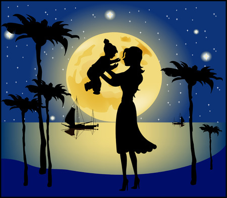 her: Silhouette of a mother and her child on a background of the sky  Illustration