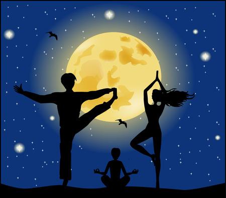 Family doing yoga exercises Vector