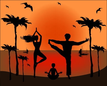 Family doing yoga exercises  Vector