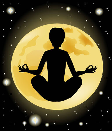 Yoga silhouette against the starry sky and the full moon  Vector
