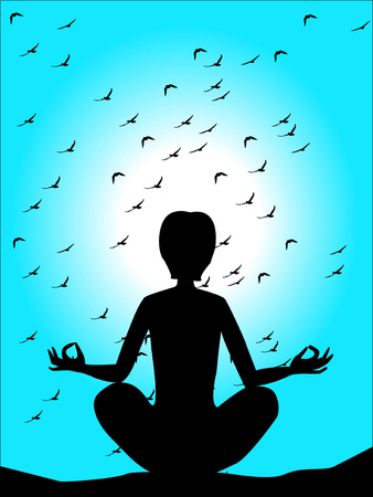 silhouette of a man in a yoga pose on a blue sky background  Vector