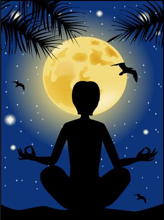 cielo estrellado: Silueta de la yoga contra el cielo estrellado y la luna llena