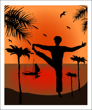 Silhouette of man in yoga pose against a background of a sea landscape Vector