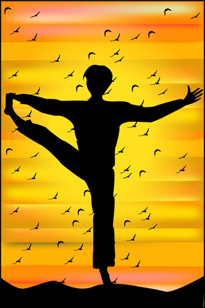 Silhouette of man in yoga pose at sunset  Vector