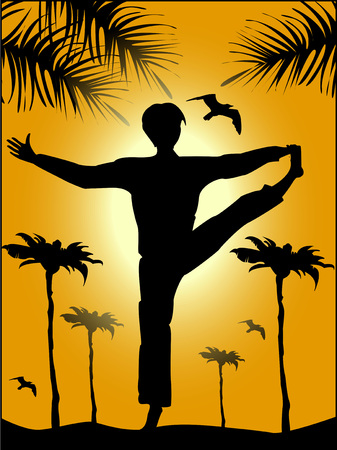 yoga sunset: Silhouette of man in yoga pose at sunset
