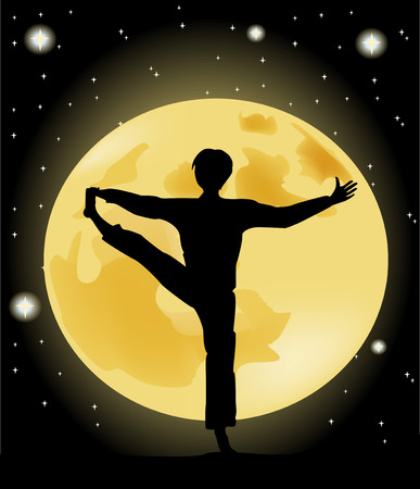yoga outside: Yoga silhouette against the starry sky and the full moon