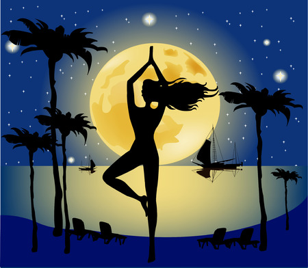 An image of a pretty woman doing yoga under a big pale moon  Vector